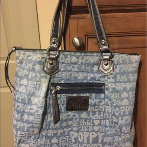 Coach Poppy Denim Worldblock Tote Bag Blue/Silver